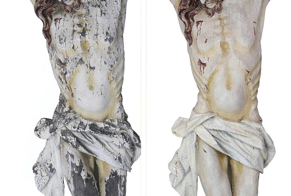 Kruzifix  – gefasstes Holz